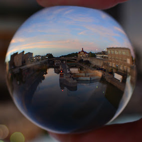 Lock 35 through the crystal ball by Thomas Fitzrandolph - Artistic Objects Glass ( nikon d 5200, lockport ny, niagara county ny, erie canal, crystal ball lens )