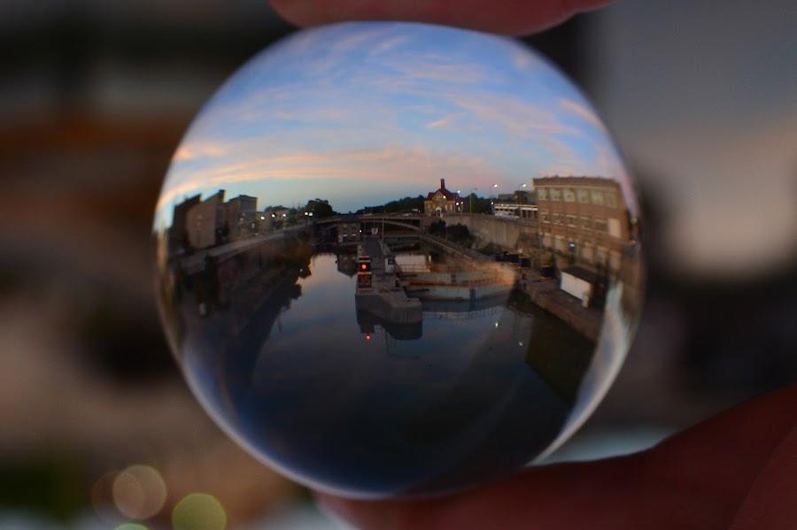 Lock 35 through the crystal ball by Thomas Fitzrandolph - Artistic Objects Glass ( nikon d 5200, lockport ny, niagara county ny, erie canal, crystal ball lens )