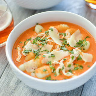 Slow Cooker Parmesan and Tomato Soup with Gnocchi and Chicken