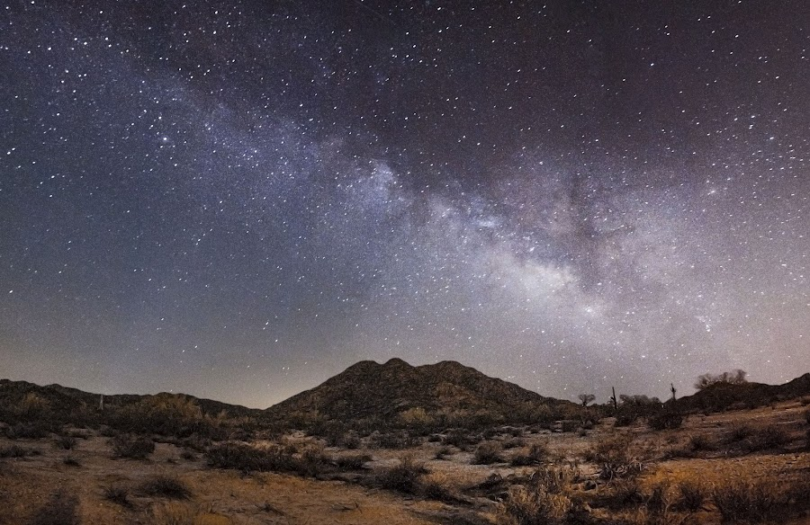 The Milky Way over the Desert by Brock Whittaker - Landscapes Deserts ( canon, milky way galaxy, mountains, desert, stars, night time, long exposure, phoenix, 5d, photography )