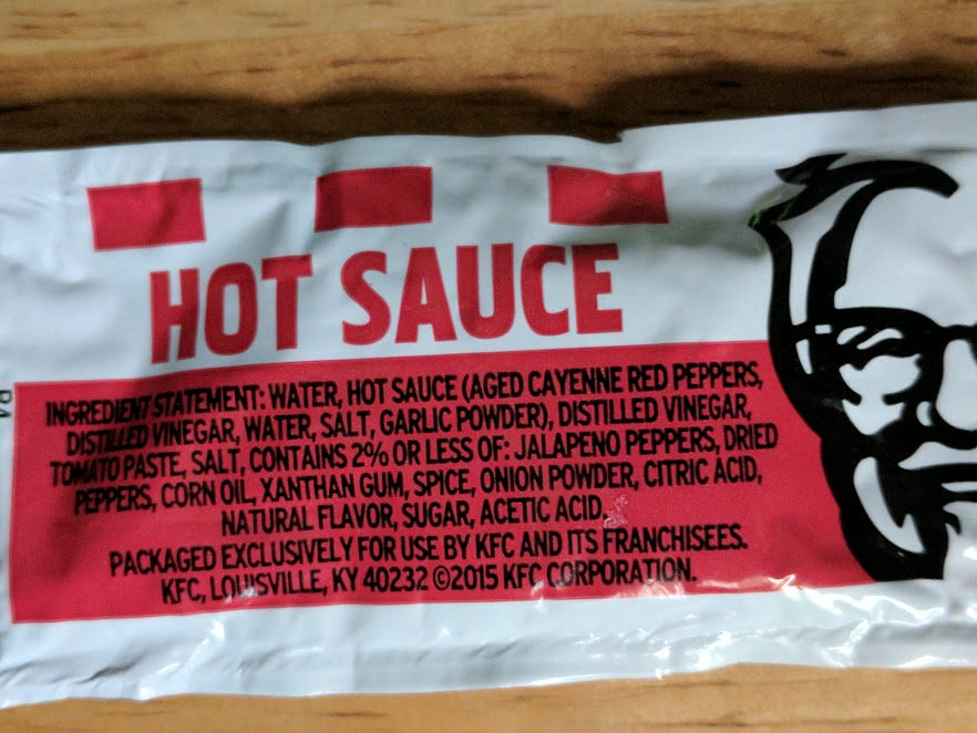 KFC hot sauce is made with hot sauce