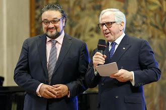 Photo: Künstlerempfang in der Wiener Staatsoper (29.1.2015) Ramon Vargas,  Aki Nuredini. Foto: DI. Dr. Andreas Haunold