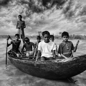 Boat and the Boys** by Anuruddha Das - Babies & Children Children Candids ( nature, black and white, weather, boat, boy,  )