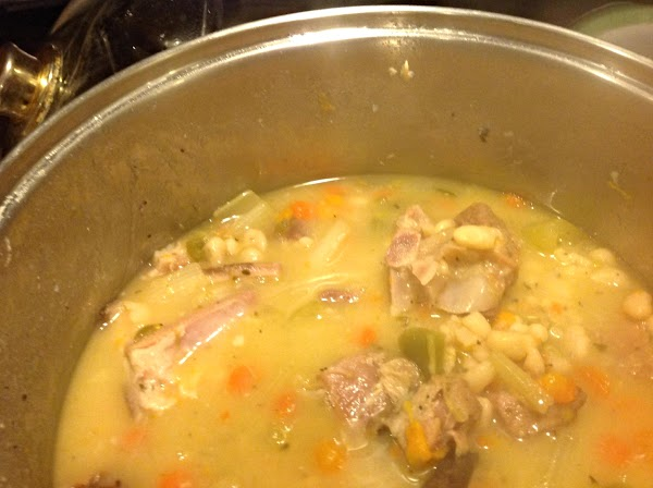 When the beans become tender the broth should begin to thicken and look somewhat...