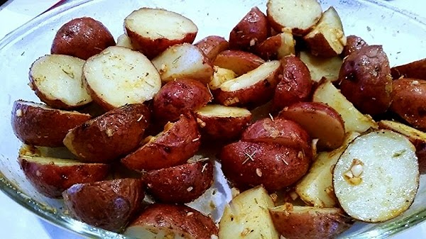 Add the potatoes, carefully tossing and  making sure all are coated with the...