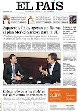 Photo: Zapatero y Rajoy apoyan sin fisuras el plan Merkel-Sarkozy para la UE y el desarrollo de la ley Sinde' es más duro contra los reincidentes, en nuestra portada http://www.elpais.com/static/misc/portada20111207.pdf