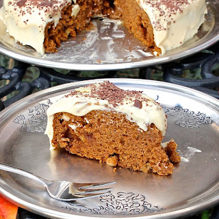 Pumpkin Toffee-Apple Cake with Cream Cheese Frosting - gluten free.