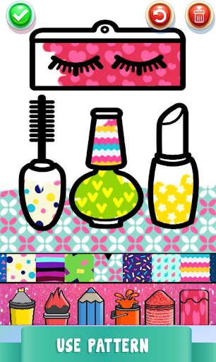 Beauty Drawing Pages Make Up Coloring Book Glitter screenshot 4