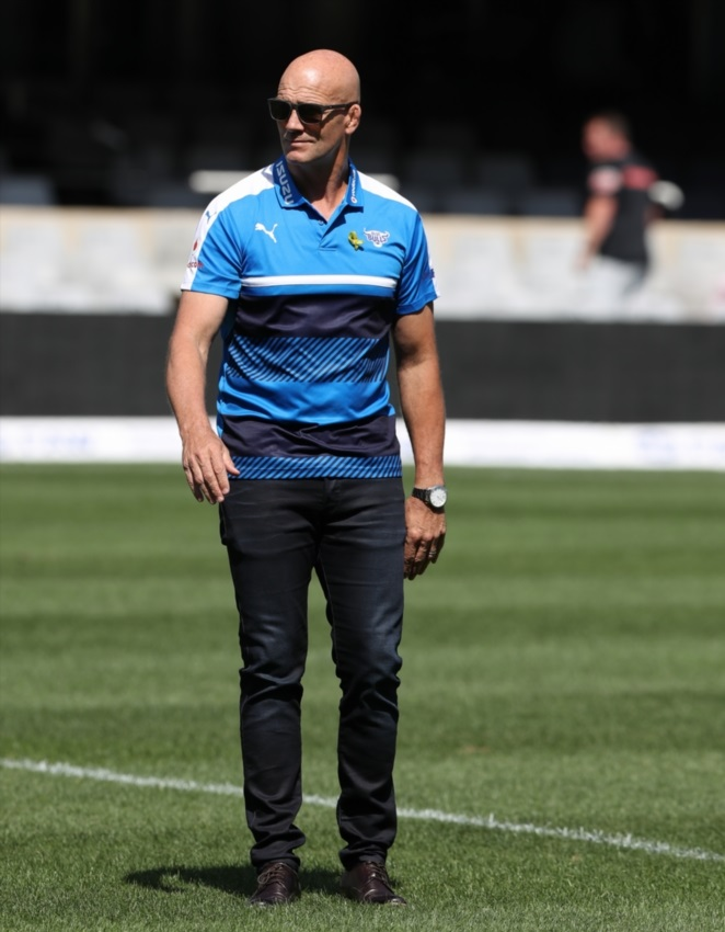 John Mitchell (Head Coach) of the Vodacom Blue Bulls during the Currie Cup Semi Final match between Cell C Sharks and Vodacom Blue Bulls at Growthpoint Kings Park on October 21, 2017 in Durban.