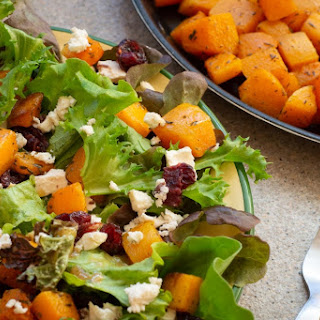 Roasted Butternut Squash Salad with Feta, Greens and Cranberries Recipe