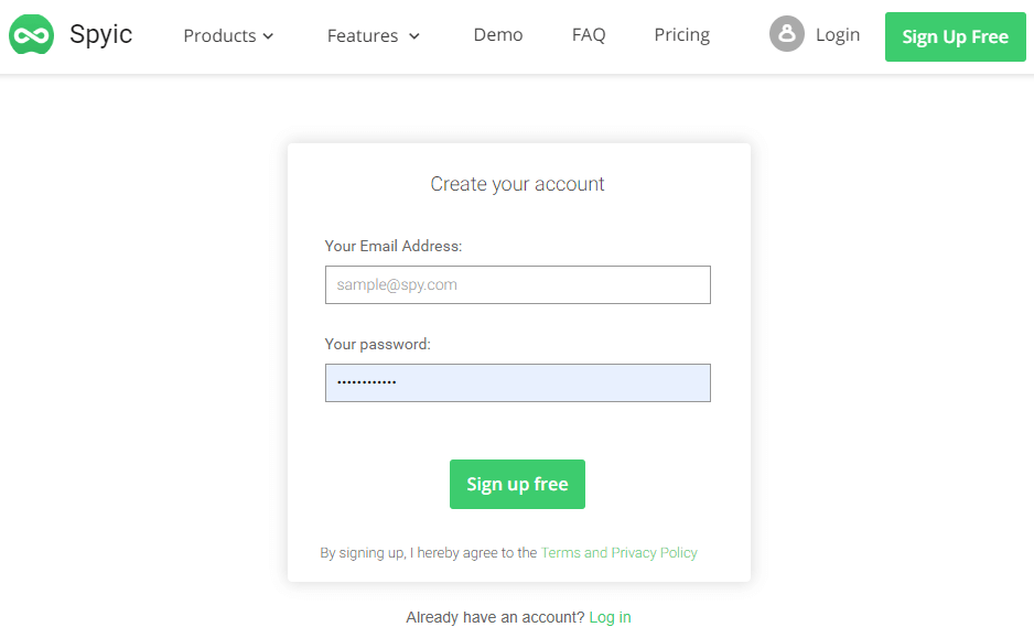 spyic sign up