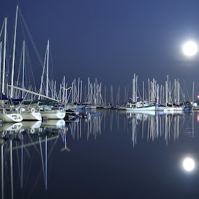 Super Moon over Toronto by Andy Barrow - Transportation Boats ( super moon moonlight toronto boats harbour night )