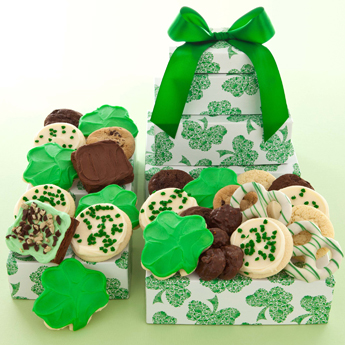 Photo: St Pattys Green Clover Cookie and Brownie gift tower