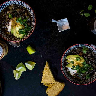 Weeknight Chili w/ground turkey, orca beans, and green chile.