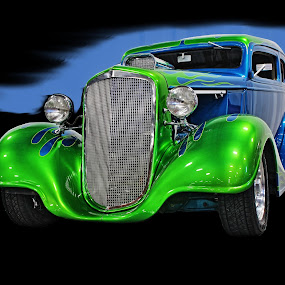 On Fire by JEFFREY LORBER - Transportation Automobiles ( lorebrphoto, rust 'n chrome, blue car, jeff lorber, hot rod, ford, antique car, @gatewayclassiccars, jeffrey lorber,  )