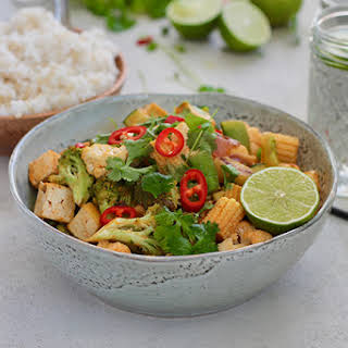 Red Curry Coconut Stir Fry With Tofu and Vegetables.