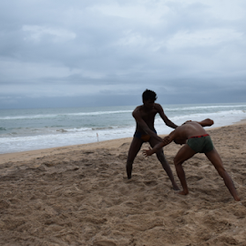Wrestling by the sea. by Kausik Datta - Sports & Fitness Other Sports ( wrestling, sports, beach,  )