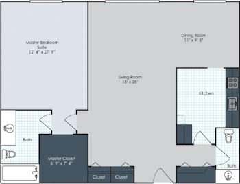 Go to One Bedroom Standard Floorplan page.