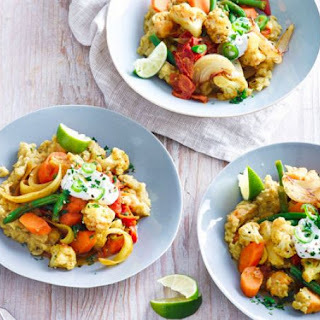 Sweet Potato Dhal with Curried Vegetables Recipe