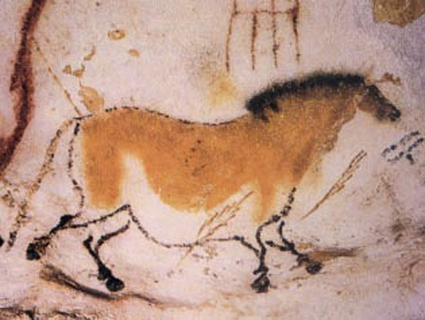 An ancient painting of a dun horse in the caves of Lascaux, France, two hours from Bordeaux.