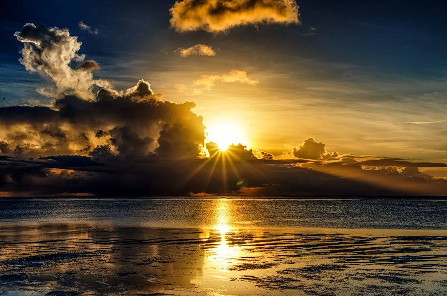 Peeking Behind The Clouds by Jun Robato - Landscapes Sunsets & Sunrises ( clouds, guam, sunsets, low tide, landscapes )