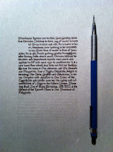 Photo: Veronica's Tyger's Cub, calligraphy. That's a drafting pencil for scale. I used a 0.5 mm Brause calligraphy nib and Windsor & Newton sepia calligraphy ink on thick off-white Pergamenata.