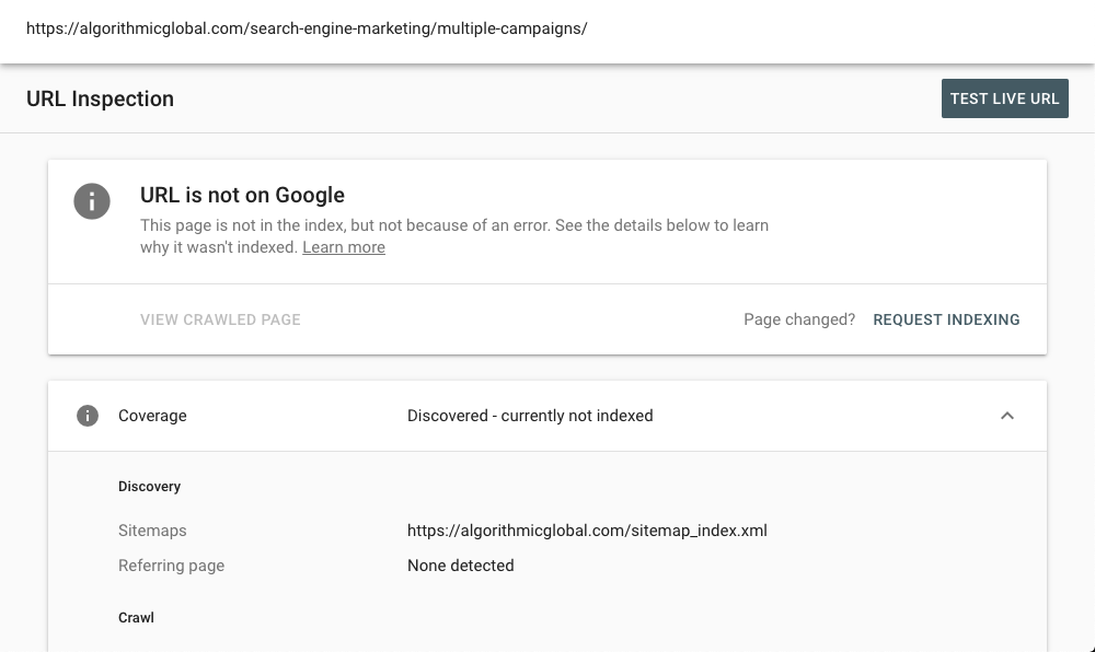 The indexed request page on Google Search Console