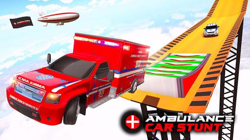 Ambulance Car Stunts: Mega Ramp Stunt Car Games screenshots 1