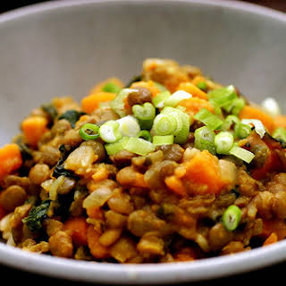 Curried Lentils With Sweet Potatoes and Swiss Chard.