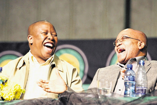 Julius Malema and President Jacob Zuma share a laugh in 2008 when they were still playing for the same side. Picture: THE TIMES