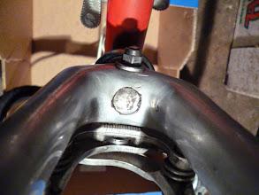 Photo: Aluminium voorvork Mk3 met stalen inzet stuk.  Lees vooral: http://viscount-lambert-bikes.blogspot.nl/2011/03/about-those-lambert-viscount-death.html