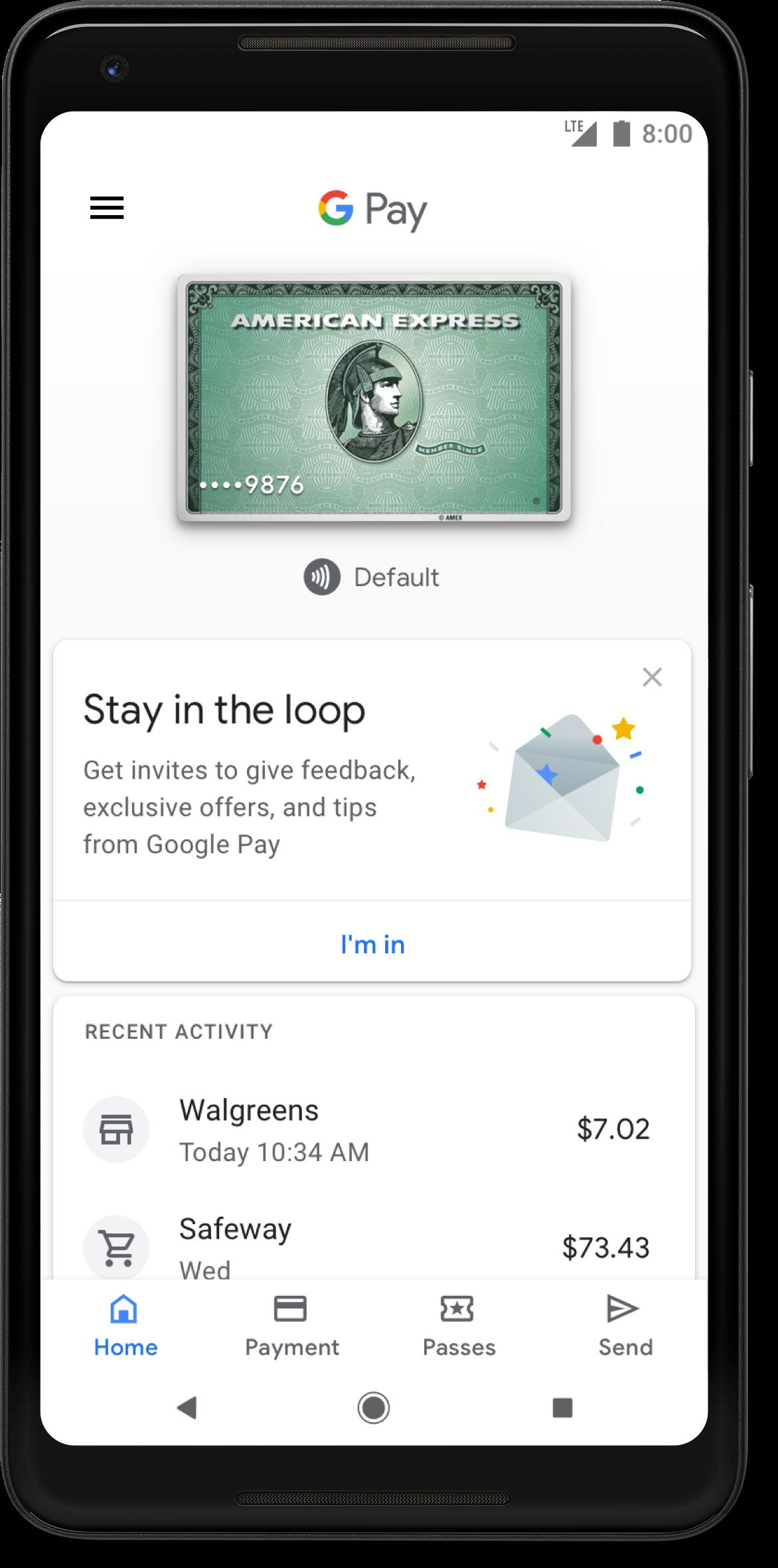 Google Pay app home screen