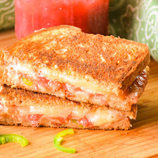 Bacon Cheddar Jalapeno Grilled Cheese with Rhubarb Sauce.