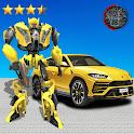 Golden Robot Car Transforme Futuristic Supercar icon