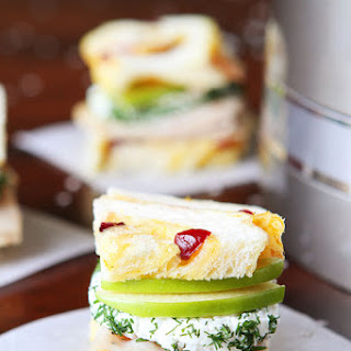 Turkey and Apple Goat Cheese Tea Sandwiches with Homemade Cranberry Orange Bread.