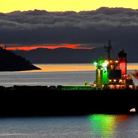 Crimson Ace Dawn, Salish Sea.  by Campbell McCubbin - Transportation Boats ( sunrise, bulk carrier, freighter, ship, dawn, salish sea,  )