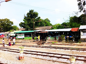 Photo: 3rd class train from Bangkok to Aranyaprathet.  Random train station.