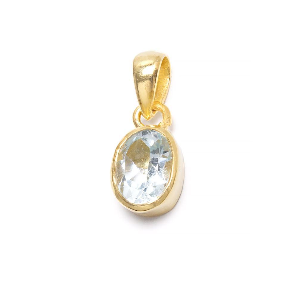 Akvamarin, månadssten för mars i guldpläterat silverhänge