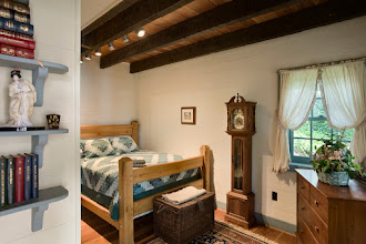 Photo: Interior, horizontal, lower level guest bedroom, Giles residence, Dandridge, Tennessee; Hearthstone Homes