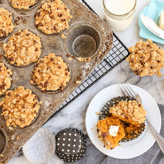 Pumpkin Muffins with Oats and Chocolate Streusel.