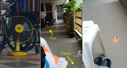 Woman's neighbours install a fan outside their flat to extinguish small prayer flame she lit in the corridor