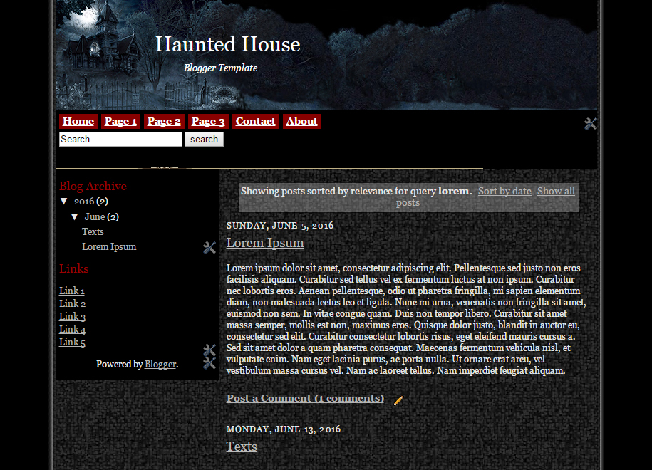 Haunted House Blogger Template Sort