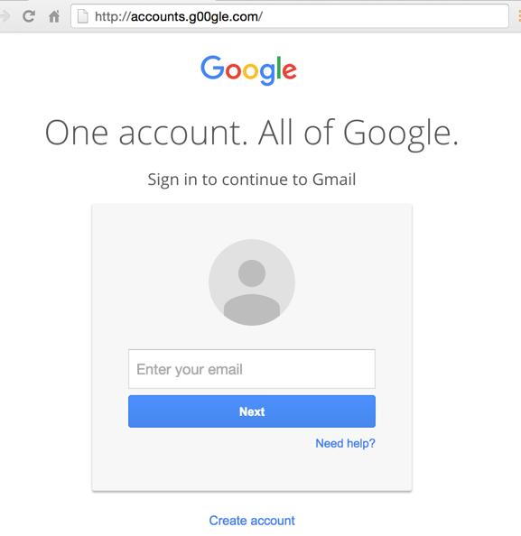 Fake Google login page