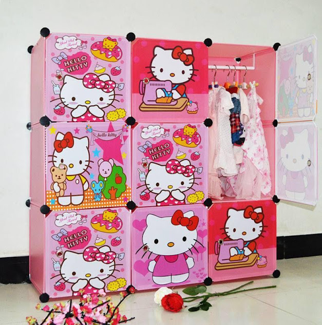 diy hello kitty 16 cubes moden wardrobe baby kids children. Black Bedroom Furniture Sets. Home Design Ideas