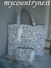 Photo: beach bag con pochette coordinata