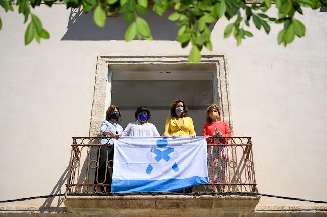 Esta mañana se ha procedido a  la colocación de la bandera del colectivo en la fachada del Consistorio de la Plaza Vieja.