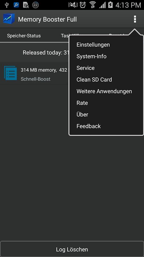 Speicher-Beschleuniger – Screenshot