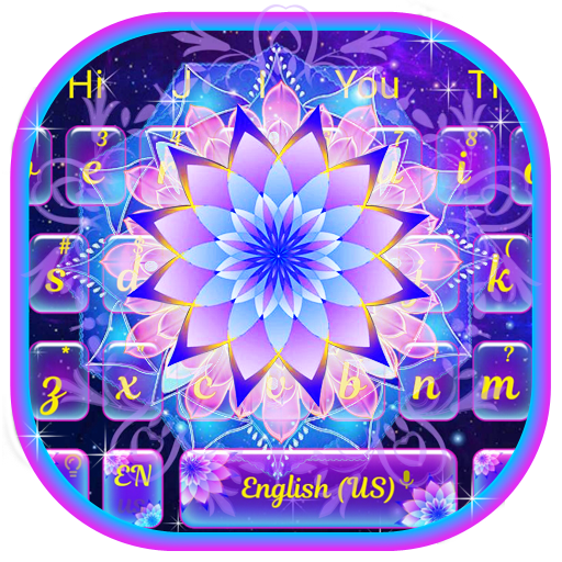 Galaxy Glitter Lotus Keyboard Theme