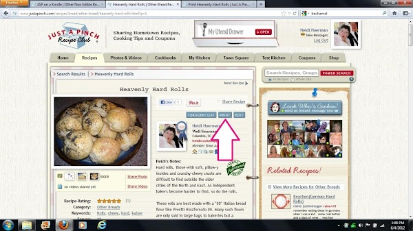 Call up the JAP recipe of your choice. Click the print button JAP provides...