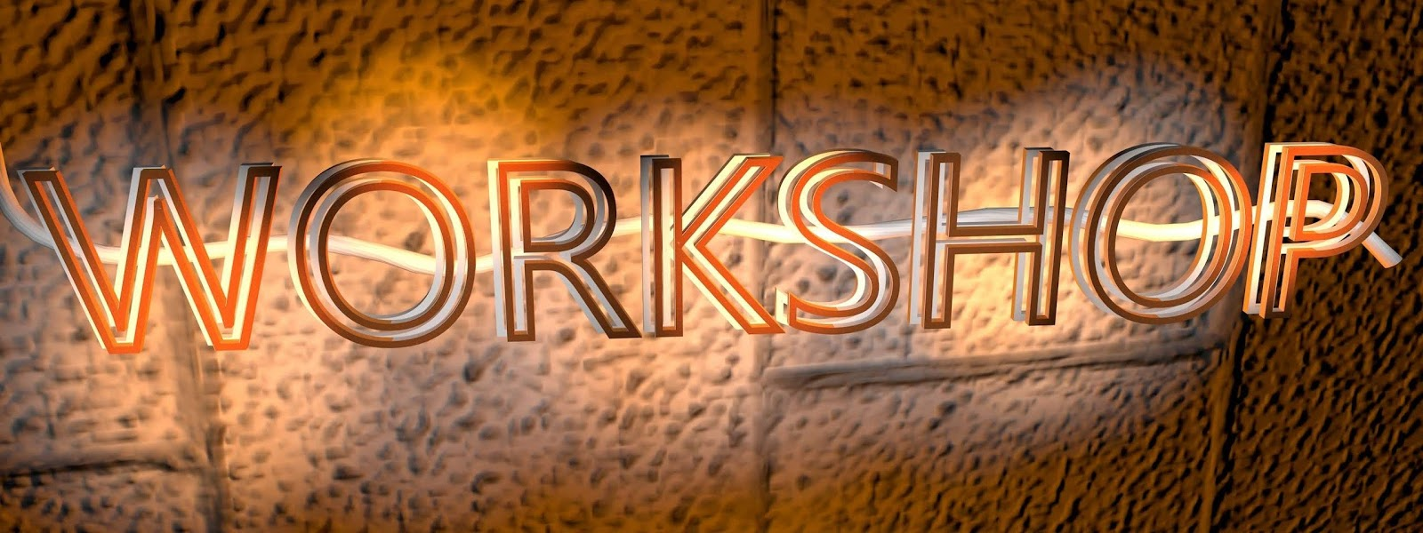 an illuminated sign that says workshop